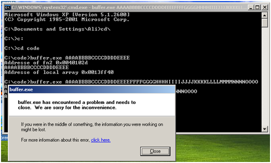 Exploit the buffer – Buffer Overflow Attack | Ali Tarhini
